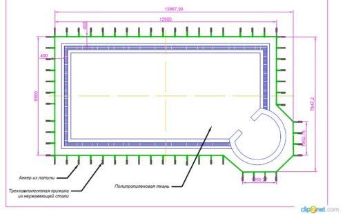 схема крепления батутного покрывала