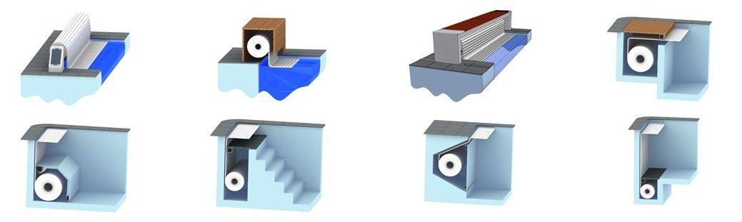 варианты установки системы сматывания жалюзийного покрывала для бассейна